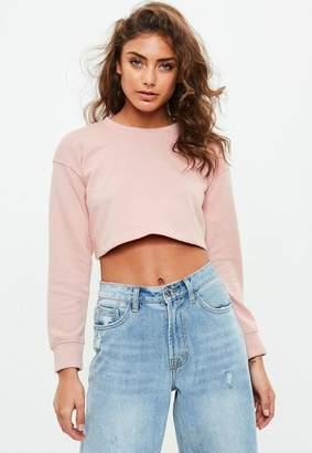 Missguided Petite Pink Cropped Sweatshirt