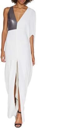 Halston Asymmetric-Sleeve Metallic-Panel Evening Gown