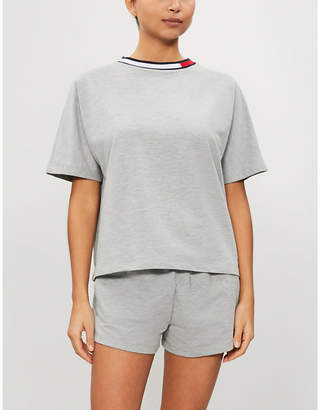 Tommy Hilfiger Striped-trim cotton-blend jersey pyjama top