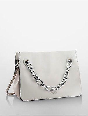 Calvin KleinCalvin Klein Womens Platinum Flared Satchel Platinum
