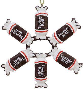 Asstd National Brand 4 Tootsie Roll Original Chewy Chocolate Candy Christmas Snowflake Ornament