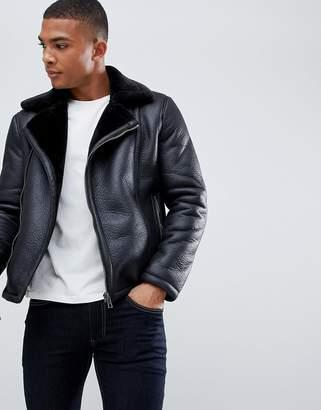 New Look faux shearling biker jacket in black