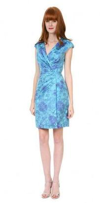 Kay Unger Floral Wrap Cocktail in Blue Multi $430 thestylecure.com