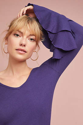 Anthropologie Waffle Knit Long-Sleeved Tee