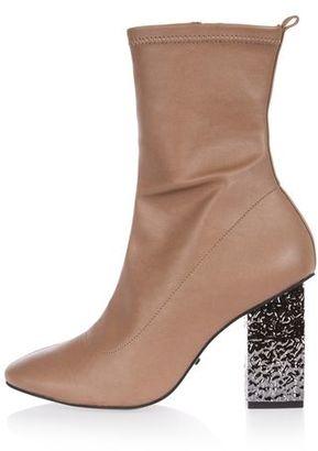 Topshop HAVEN Electroplated Heel Sock Boot