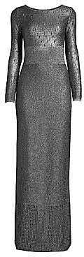 St. John Women's Metallic Plaited Mixed Knit Gown