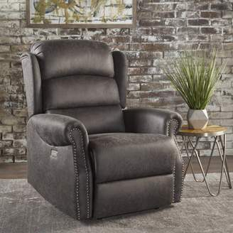 Noble House Tufted Microfiber Power Recliner,Slate