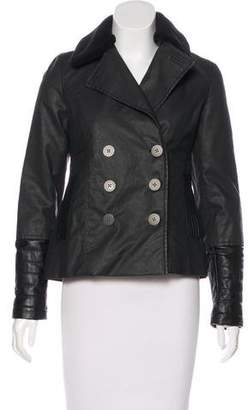 Karl Lagerfeld Leather-Accented Waxed Jacket