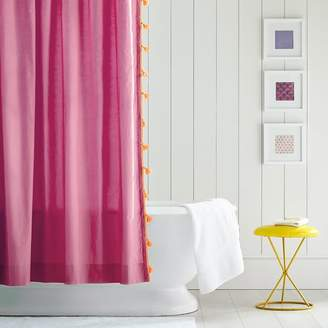 Pottery Barn Teen Color on Color Tassel Shower Curtain, Deep Pink