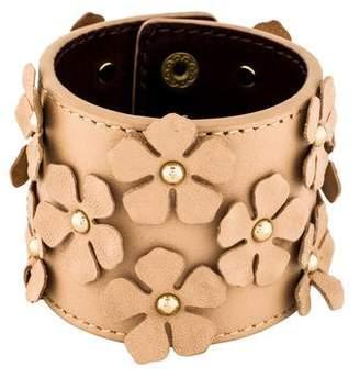 Tory Burch Floral Stud Wide Leather Bracelet