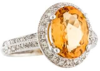 Ring 18K Orange Topaz & Diamond