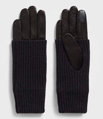 AllSaints Knit Cuff Leather Gloves