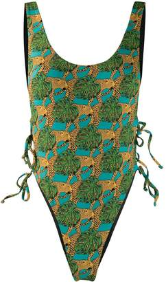 Reina Olga Jungle Fever high-leg swimsuit