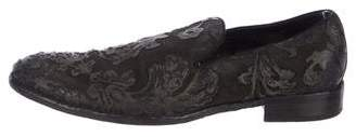 Dolce & Gabbana Floral Leather Smoking Slippers