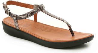 FitFlop Tia Wedge Sandal -Black/Cream Embossed - Women's