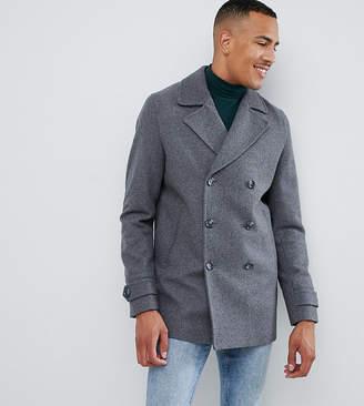 b3cb79f10b40 Asos Design DESIGN Tall wool mix peacoat in light gray