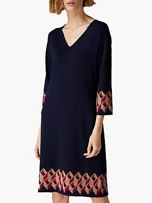Jaeger Geometric Knit Dress, Navy