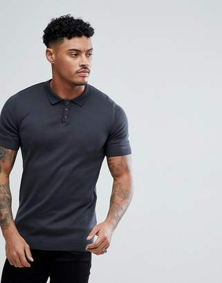 Asos DESIGN Muscle Fit Knitted Polo Shirt In Charcoal