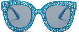Gucci Crystal Embellished Round Acetate Sunglasses - Womens - Light Blue