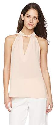Suite Alice Women's Women's Sleeveless Deep V Woven Top with Neck Detail