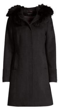 Sentaler Mid-Length Fur Trim Alpaca Coat