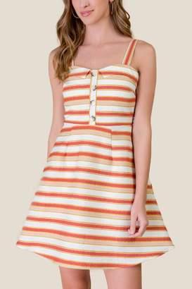 francesca's Ella Striped Fit and Flare Dress - Ivory