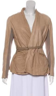 Rick Owens Knit-Trimmed Leather Jacket