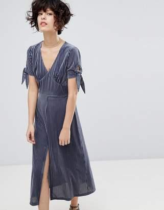 J.o.a. Midi Dress With Split Front In Delicate Pleated Velvet