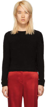 Moncler Black Fuzzy Logo Crewneck Sweater