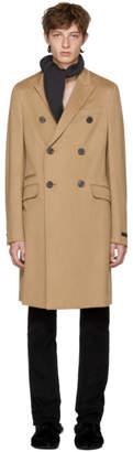 Prada Tan Camel Wool Double-Breasted Coat