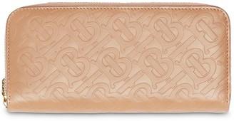 Burberry Monogram Leather Ziparound Wallet