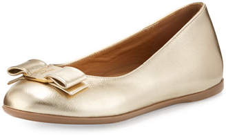 Salvatore Ferragamo Varina Mini Leather Ballet Flat, 10T-2Y