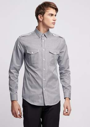 Emporio Armani Shirt In Striped Cotton With Applique Pockets