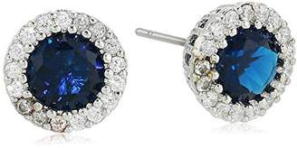 Kenneth Jay Lane Cz By Women's Round Blue Sapphire Cubic Zirconia Stud Earrings With Halo