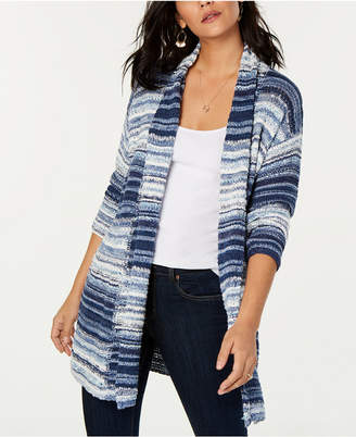 Style&Co. Style & Co Petite Marled-Striped Open-Front Cardigan