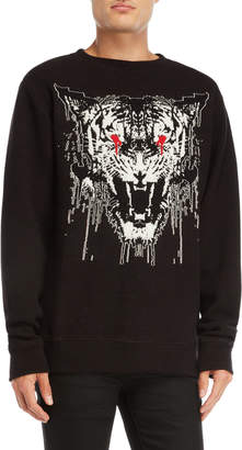 Marcelo Burlon County of Milan Black Graphic Pullover Sweater