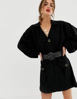 Asos Design DESIGN broderie shirt dress with woven belt