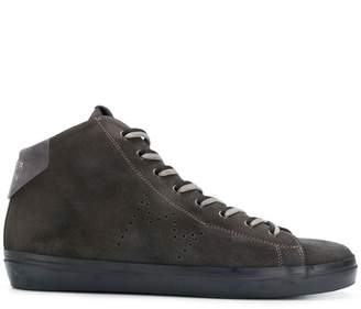Leather Crown lace-up hi-top sneakers