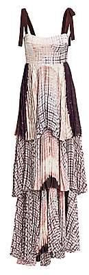 Silvia Tcherassi Women's Daria Tie-Shoulder Tier Graphic Plaid Silk-Blend A-Line Maxi Dress