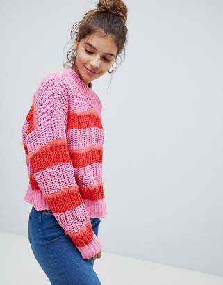 Bershka Striped heavy knitted jersey jumper