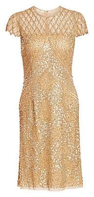 Joanna Mastroianni Women's Sequin Illusion Cocktail Dress