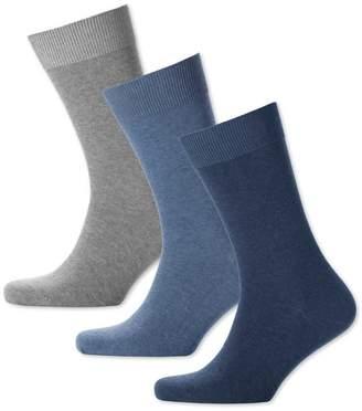 Charles Tyrwhitt Blue Multi Cotton Rich 3 Pack Socks Size Large