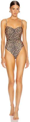 Jonathan Simkhai Bustier Swimsuit in Leopard Print   FWRD