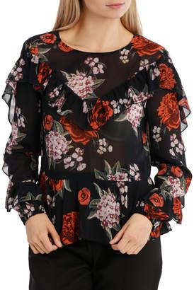 Frill Statement Blouse - Hyper Bouquet Floral