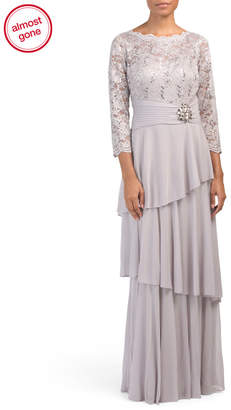 Cachet Long Sleeve Lace Tiered Chiffon Skirted Gown
