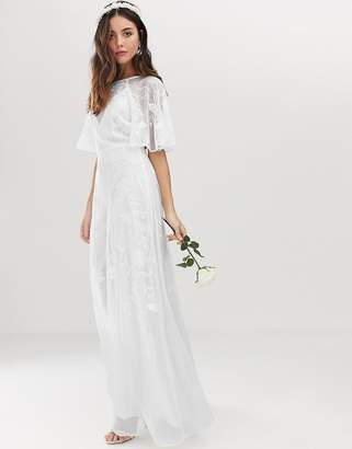 68e034e94c559 Asos Edition EDITION embroidered flutter sleeve wedding dress