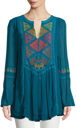 Tolani Lauren Geometric Embroidered Peasant Tunic, Plus Size