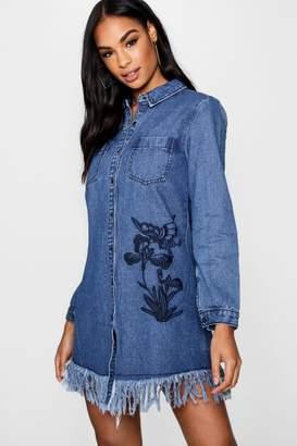 boohoo Embroidered Denim Shirt Dress