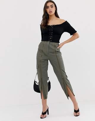 Asos Design DESIGN high waist zip front combat pants