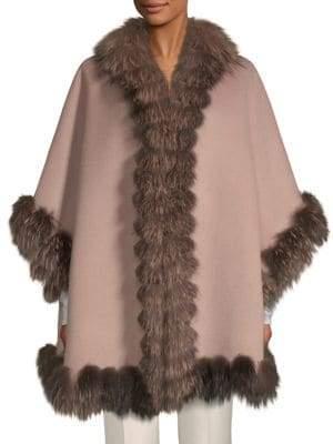 Dyed Fox Fur-Trim Wool Cape